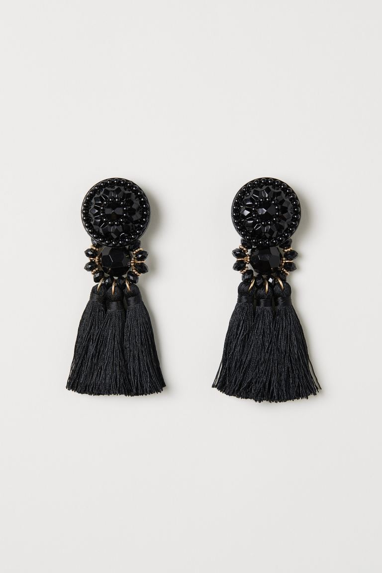 Earrings with tassels - Black - Ladies | H&M GB