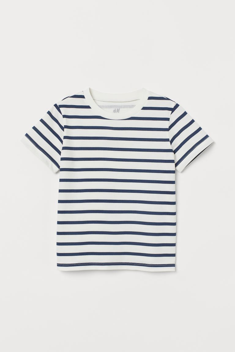 Cotton T-shirt - White/Blue striped - Kids | H&M