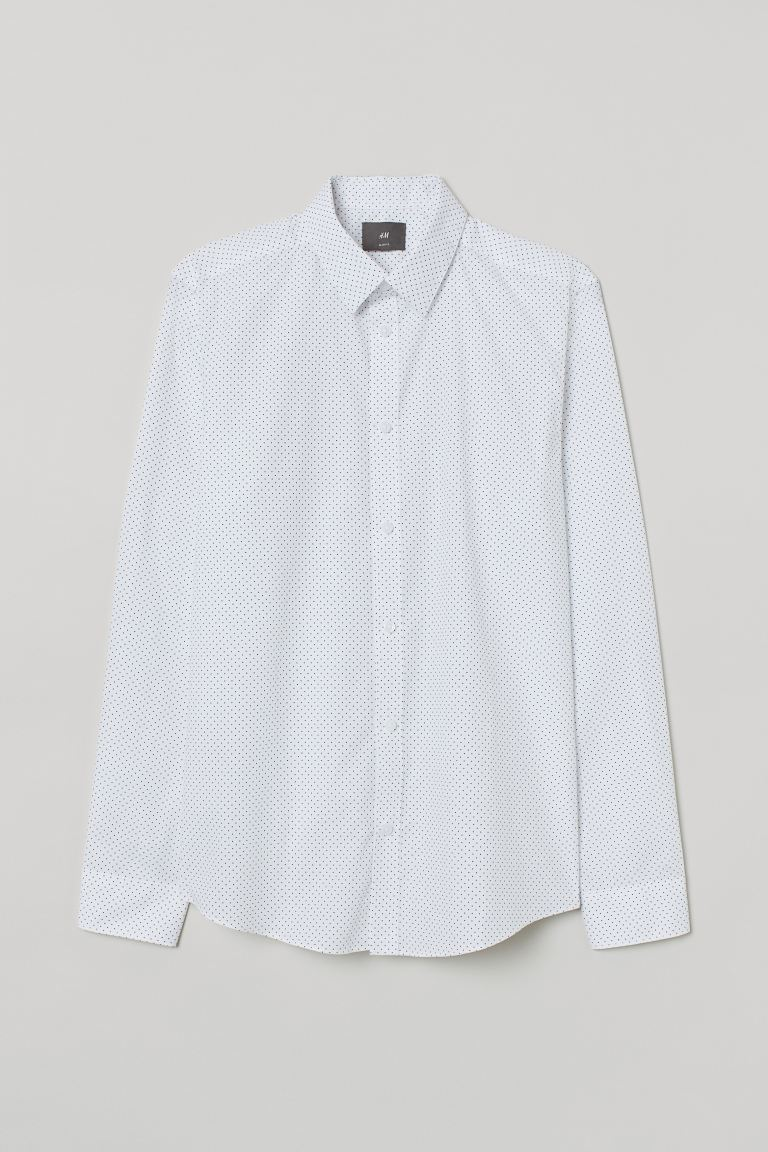 Slim Fit Easy-iron Shirt - White/black dotted - Men | H&M CA