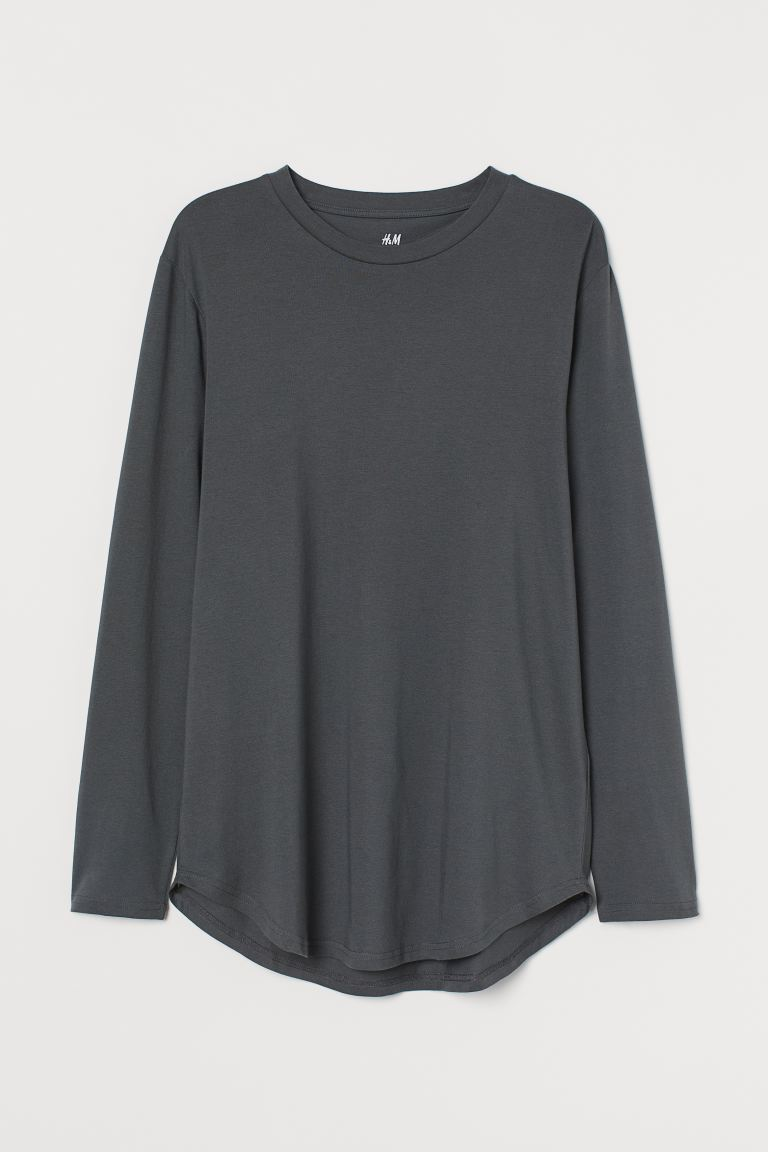 Long-sleeved Shirt Long Fit - Dark gray - Men | H&M CA