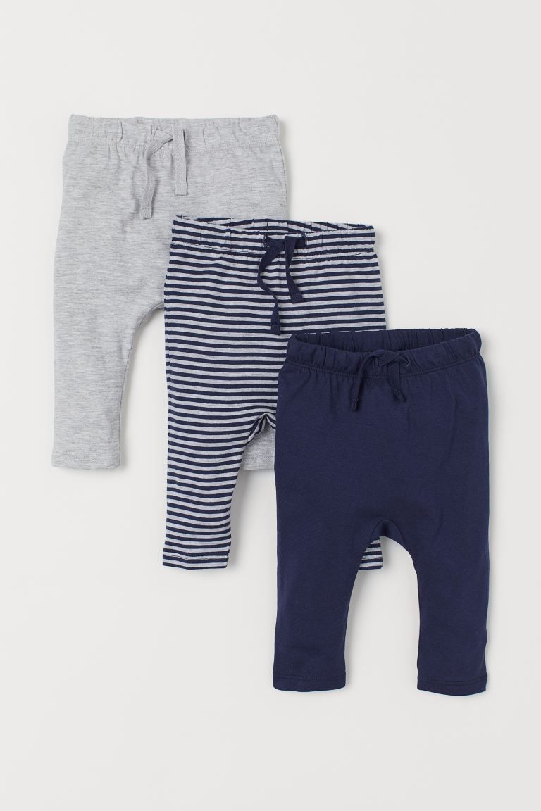 3-pack jersey trousers - Dark blue/Striped - Kids | H&M