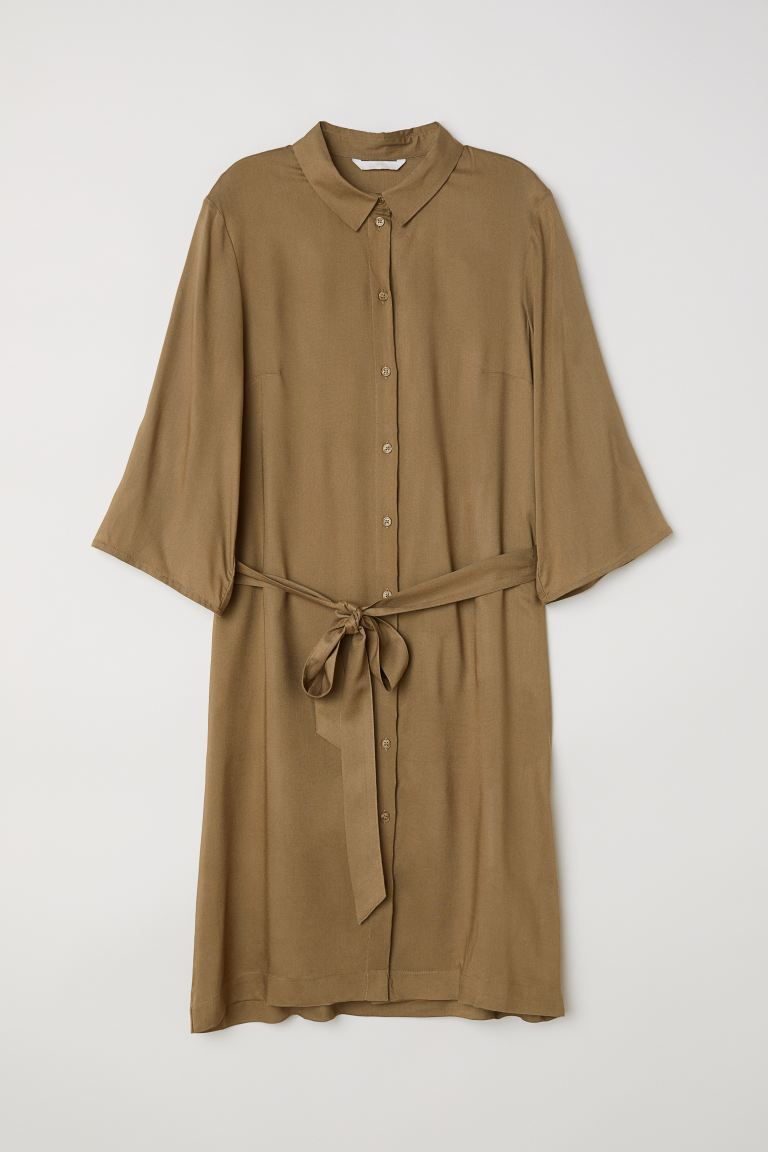 Shirt Dress - Khaki green - Ladies | H&M CA