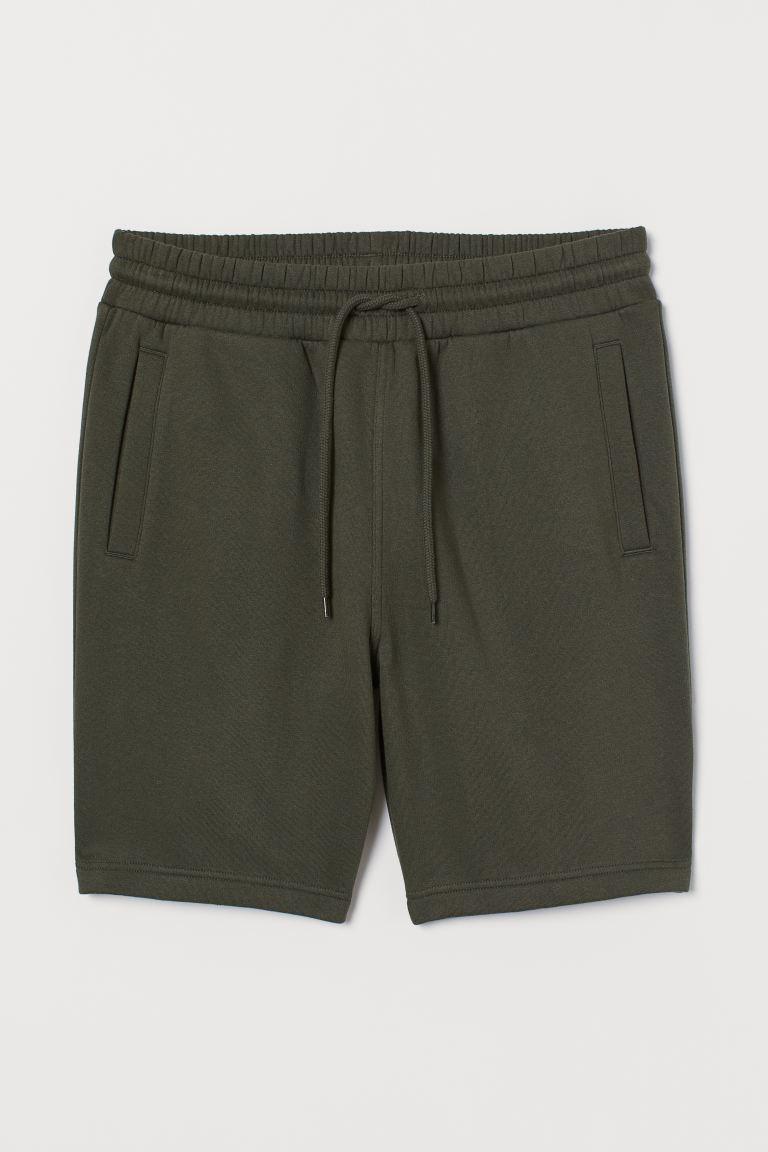 Sweatshirt shorts Regular Fit - Dark khaki green - Men | H&M GB