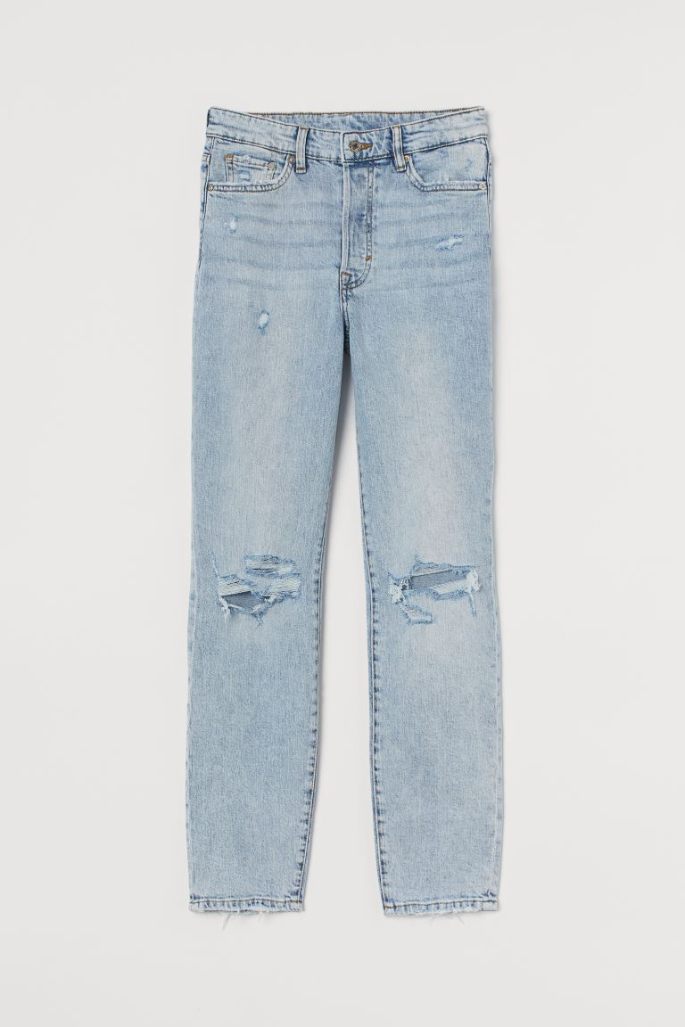 Mum High Ankle Jeans - Light denim blue - Ladies | H&M AU