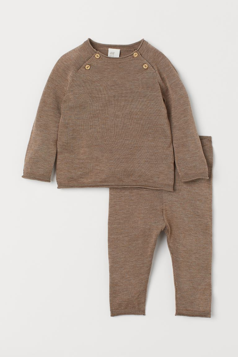 Silk-blend jumper and trousers - Brown marl - Kids | H&M GB