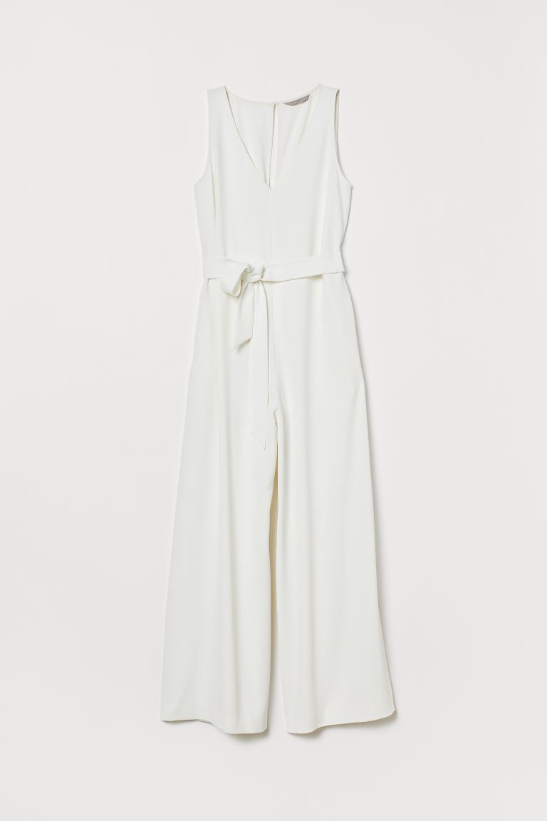 Jumpsuit with a tie belt - Cream - Ladies | H&M GB