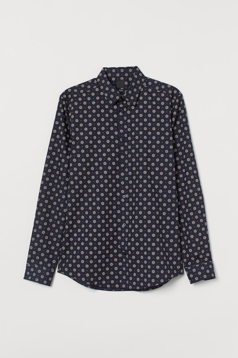 Easy-iron shirt Slim Fit - Dark blue/Patterned - Men | H&M IN
