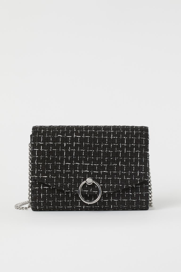 Clutch Bag - Black/white checked - Ladies | H&M US