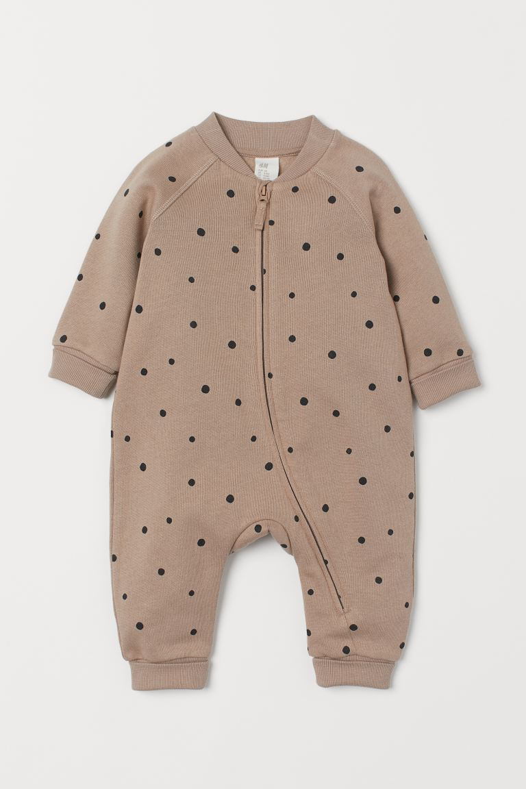 Sweatshirt all-in-one suit - Beige/Spotted - Kids | H&M GB