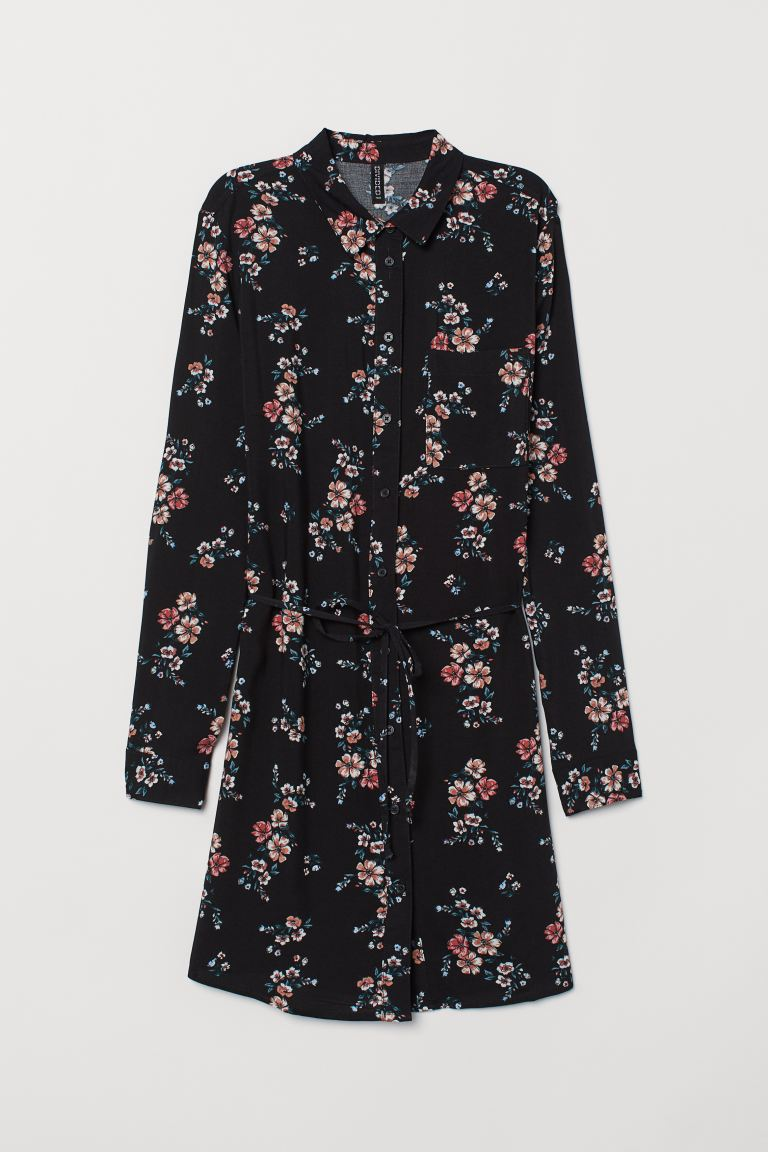 Shirt dress - Black/Floral - Ladies | H&M IE