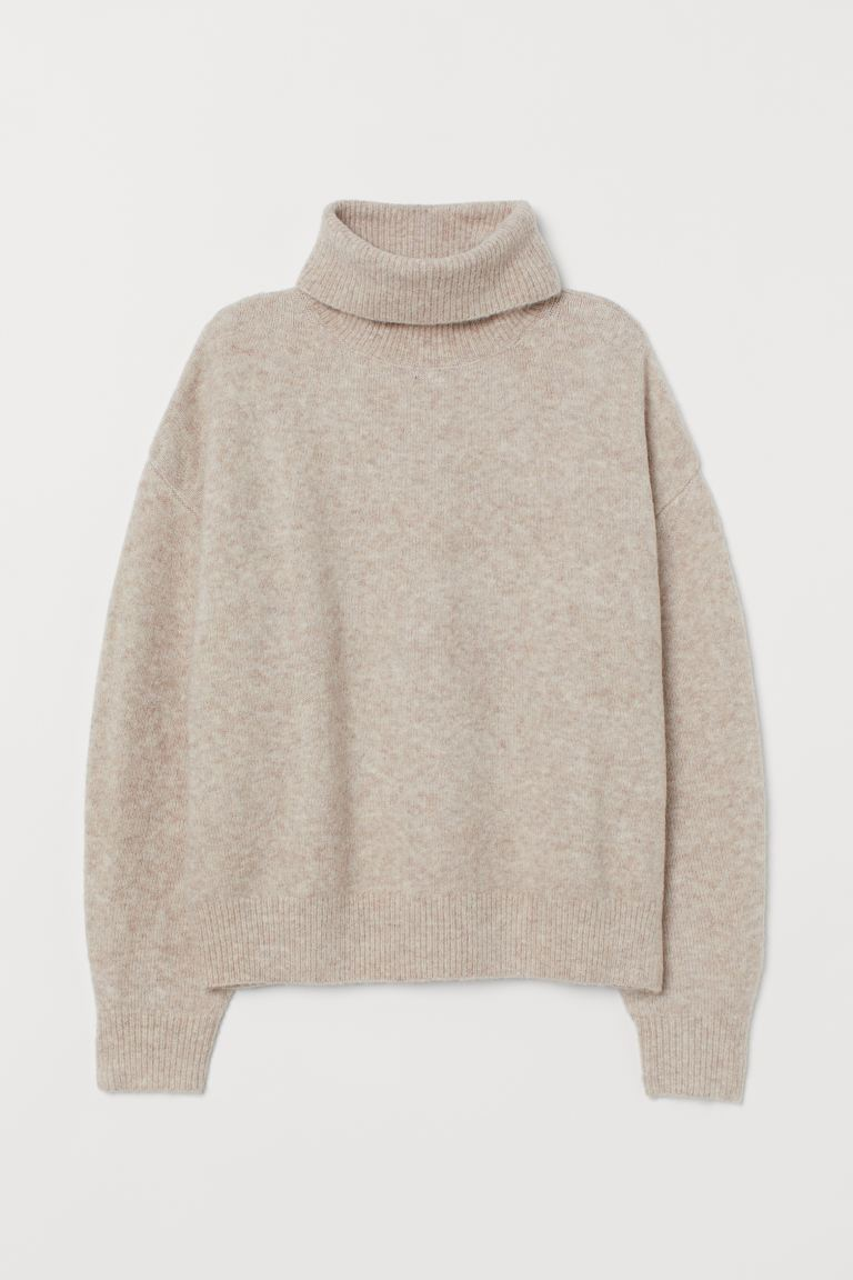 Knit Turtleneck Sweater - Light beige melange - Ladies | H&M US