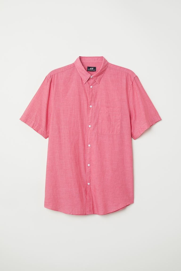 Cotton shirt Regular Fit - Light red/Chambray - Men | H&M GB