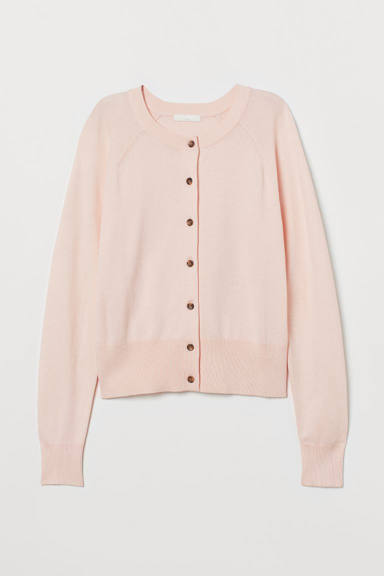 Fine-knit cardigan - Light pink - Ladies | H&M IN