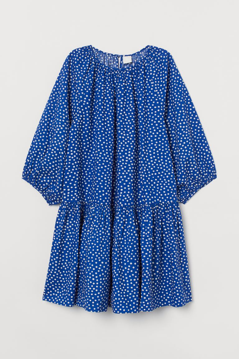 Balloon-sleeved dress - Bright blue/White spotted - Ladies | H&M GB