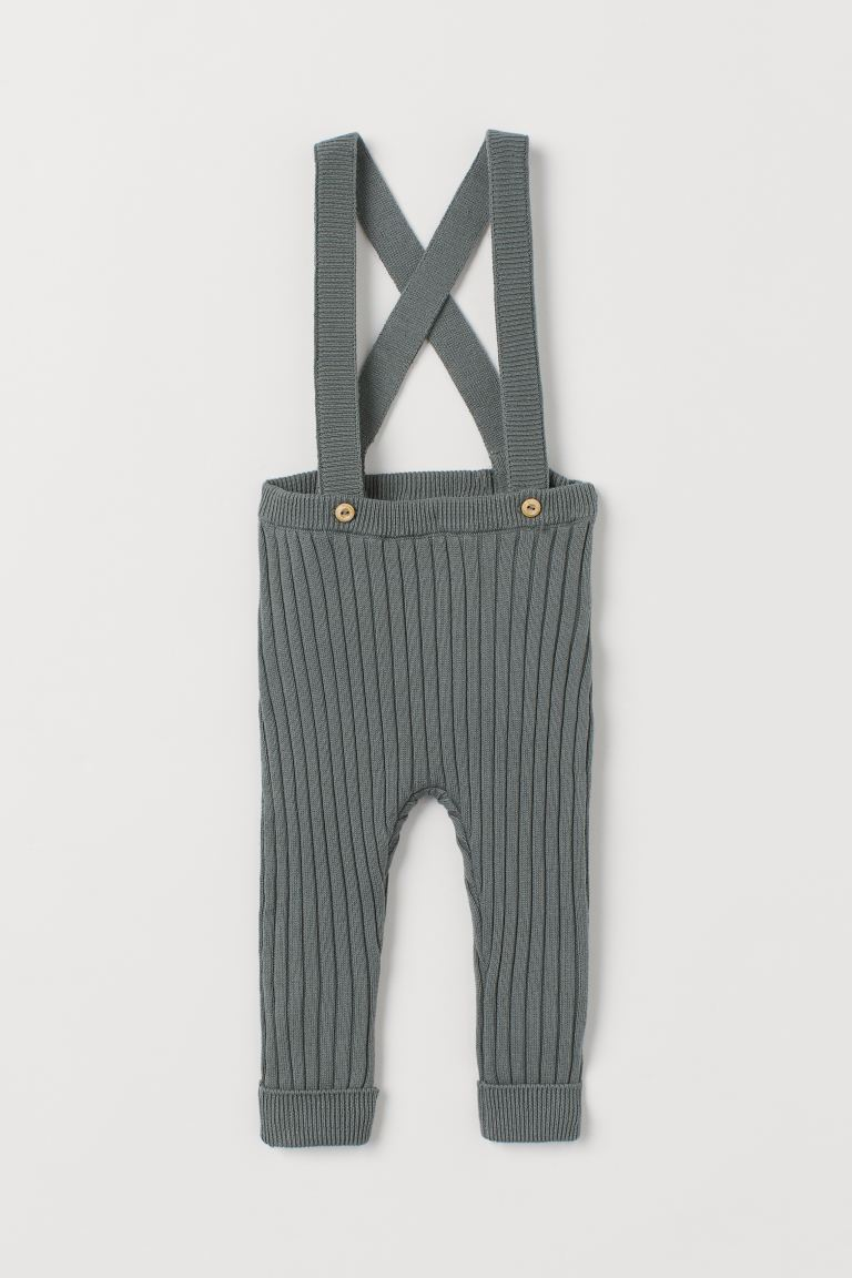 Rib-knit Pants with Suspenders - Dark dusky green - Kids | H&M US
