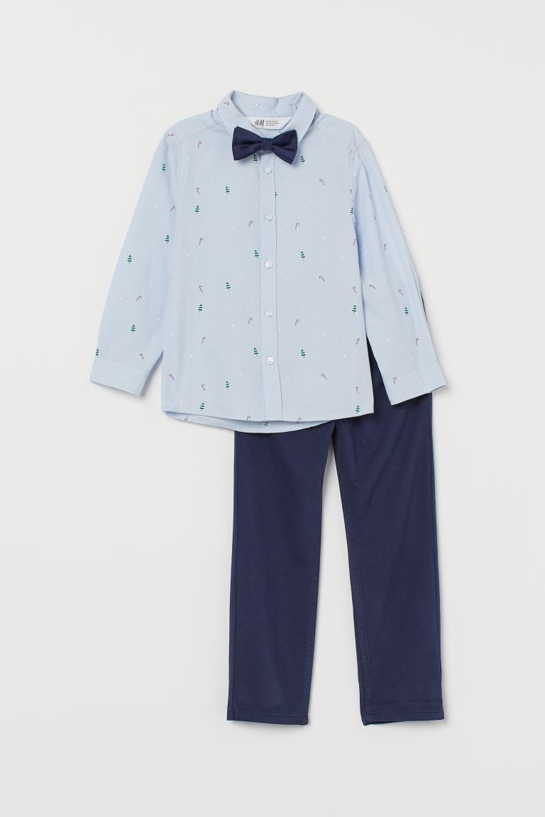Shirt and twill trousers - Light blue/Dark blue - Kids | H&M