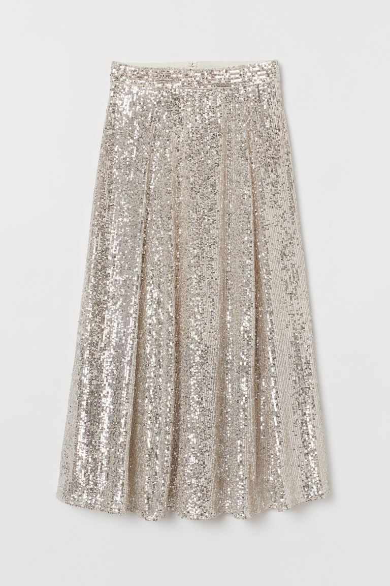 Calf-length sequined skirt - Light beige - Ladies | H&M IE