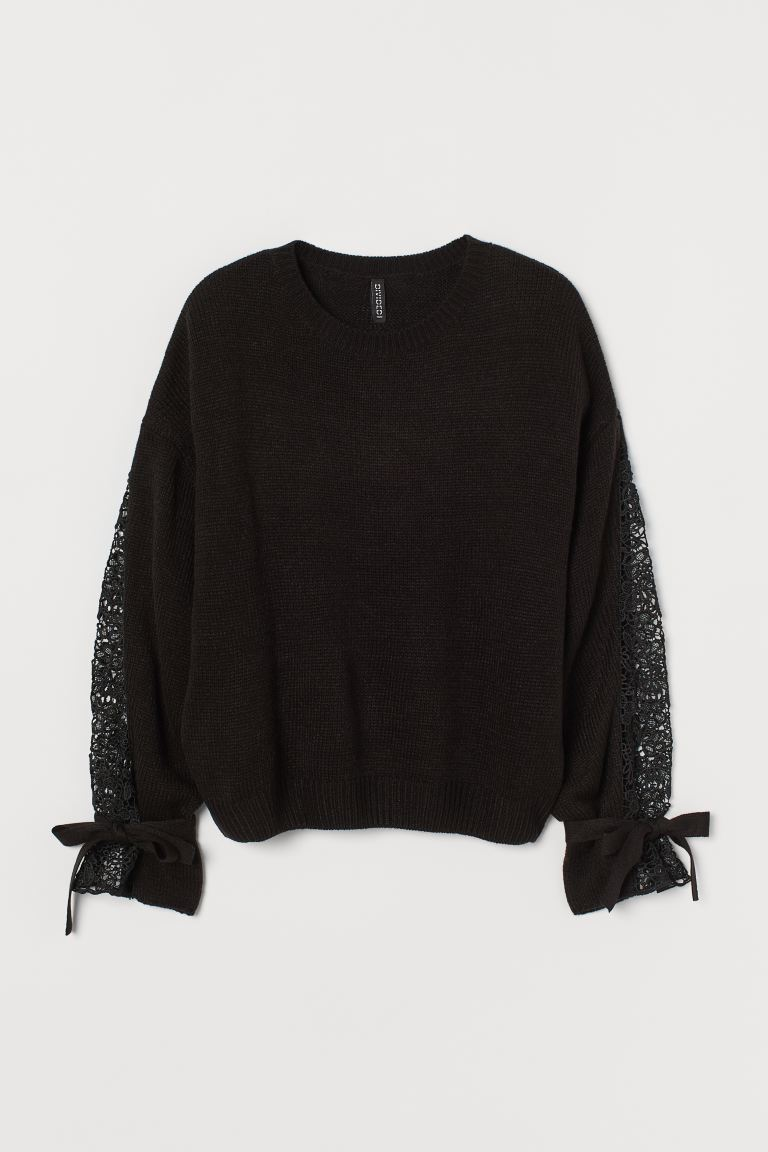 Lace-detail Sweater - Black - Ladies | H&M US