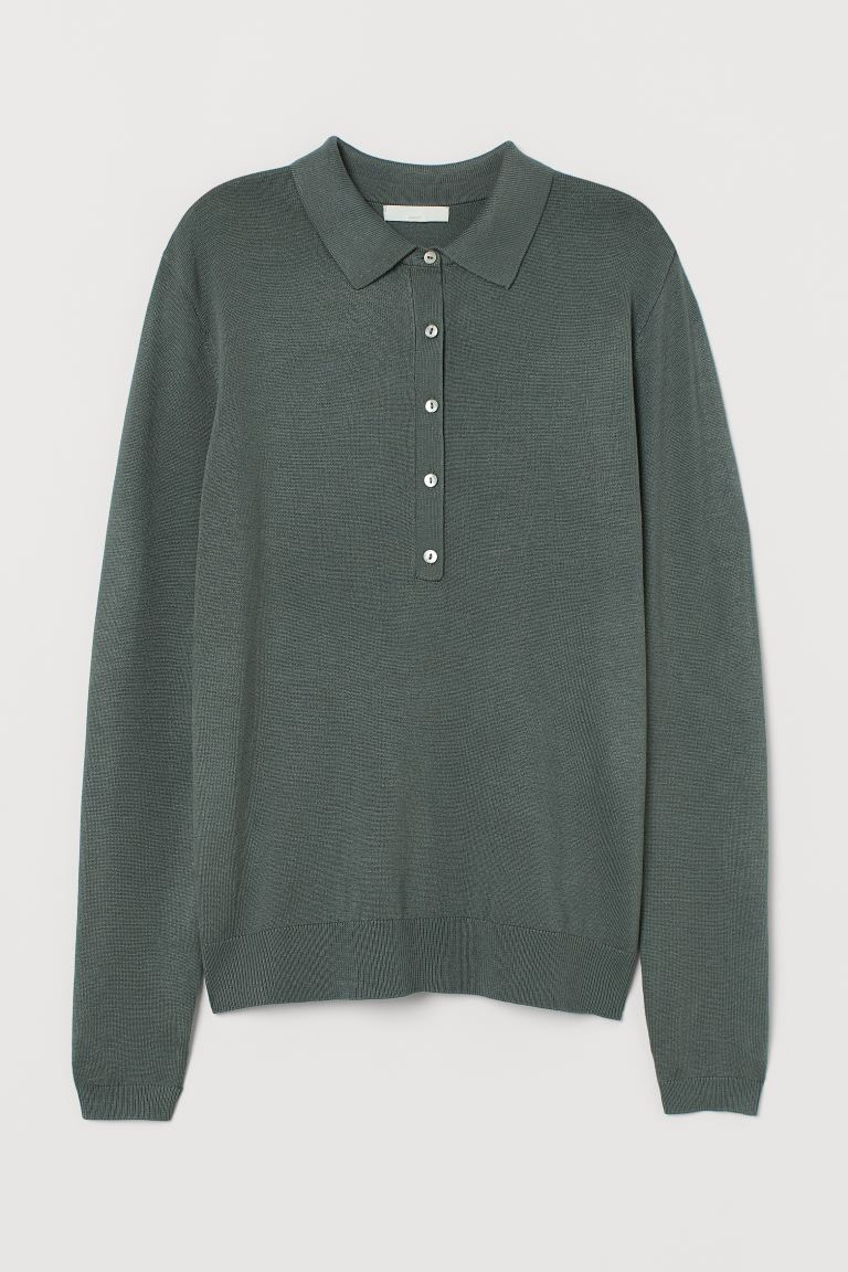 Fine-knit jumper with a collar - Dark green - Ladies | H&M GB