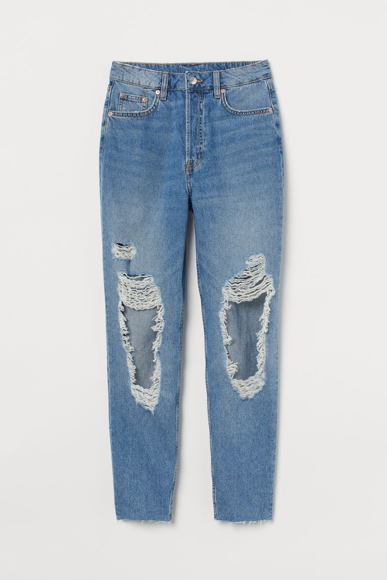 Slim Mom High Ankle Jeans - Niebieski denim/Trashed - ONA | H&M PL