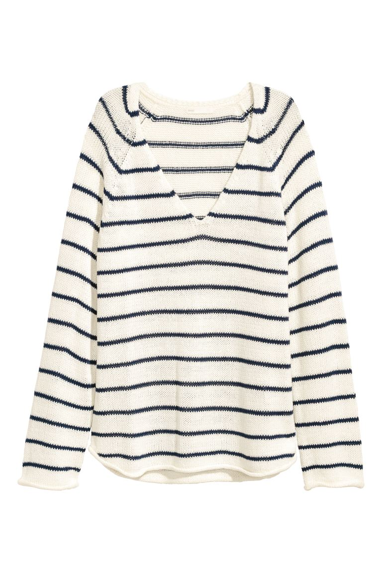 Loose-knit Sweater - White/blue striped - Ladies | H&M CA
