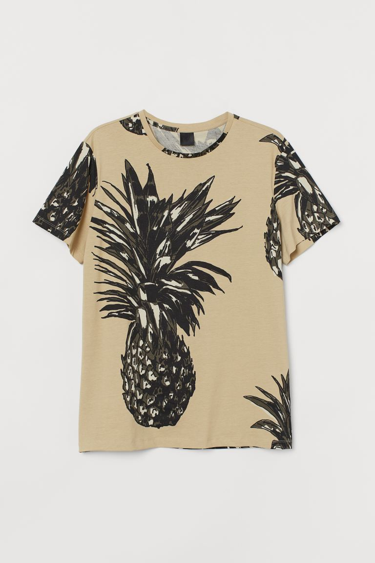Cotton T-shirt - Beige/Pineapples - Men | H&M IN