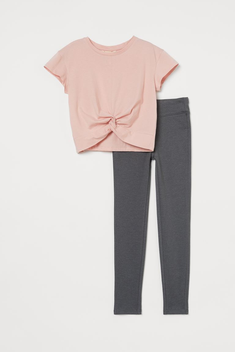 2-piece Knot-detail Jersey Set - Light pink/gray melange - Kids | H&M US