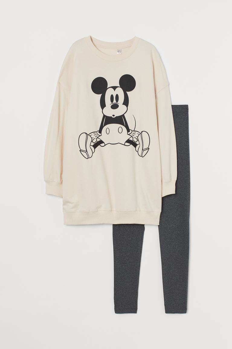 Printed pyjamas - Light beige/Mickey Mouse - Ladies | H&M