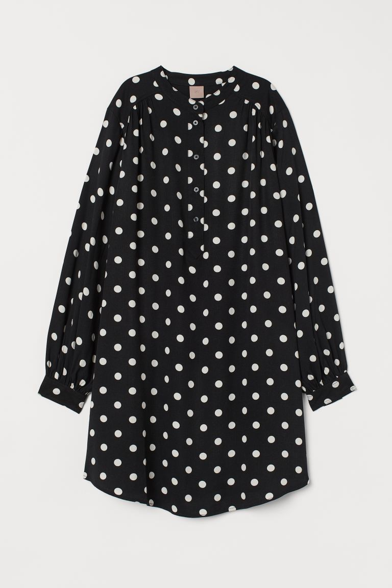 H&M+ V-neck dress - Black/White spotted - Ladies | H&M IN