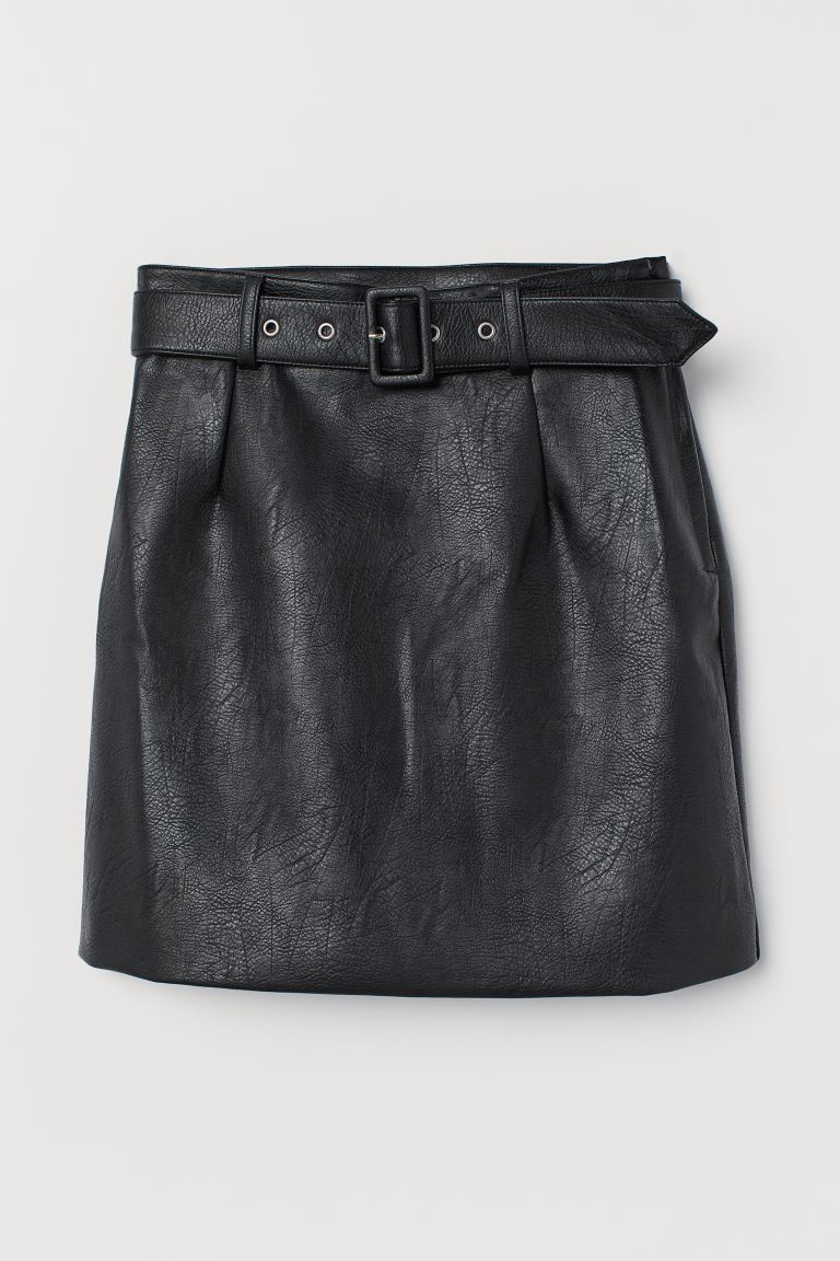Short skirt with a belt - Black - Ladies | H&M GB