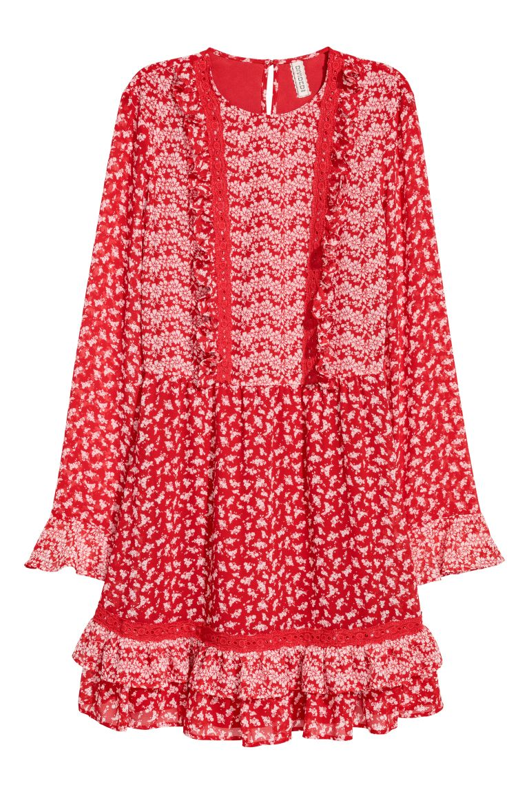Chiffon dress - Red/Floral - Ladies | H&M GB