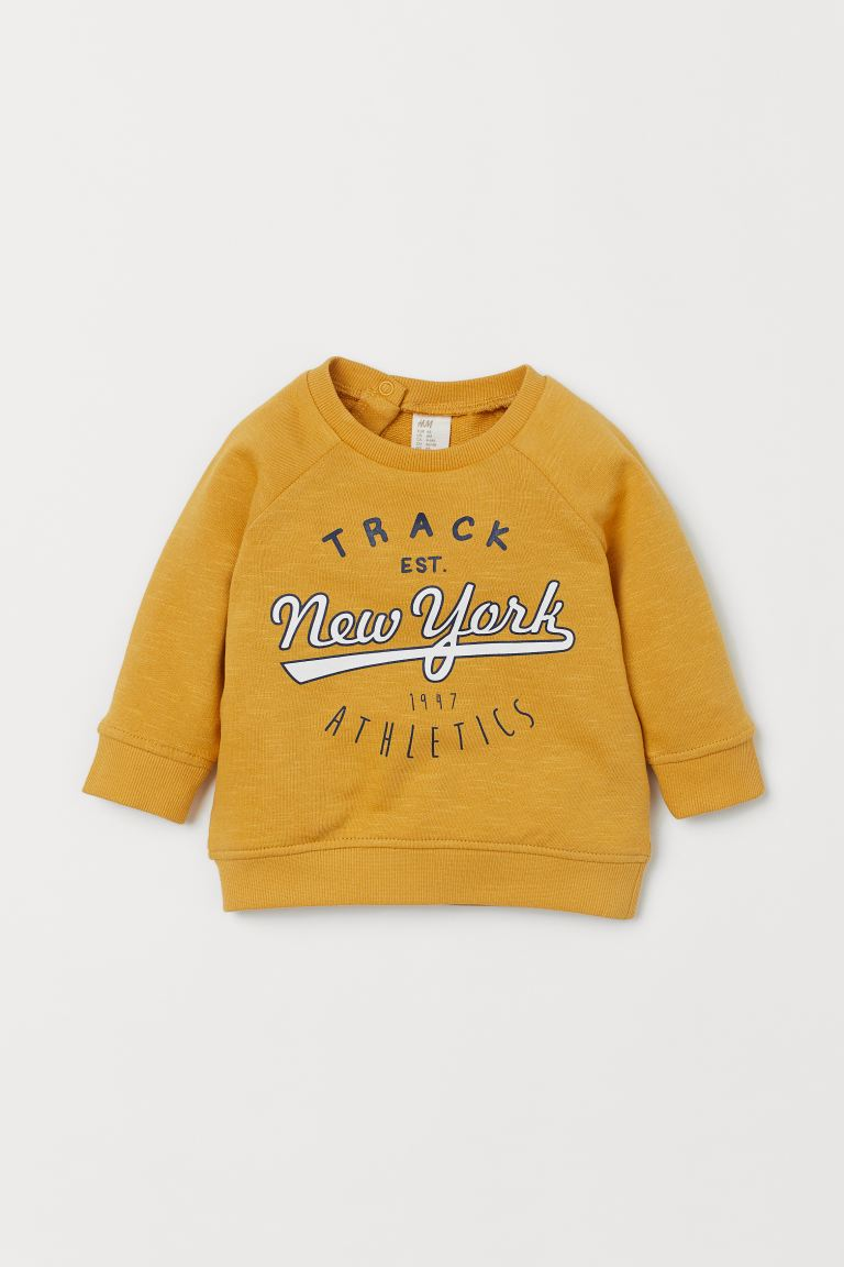 Cotton sweatshirt - Yellow/New York - Kids | H&M IN