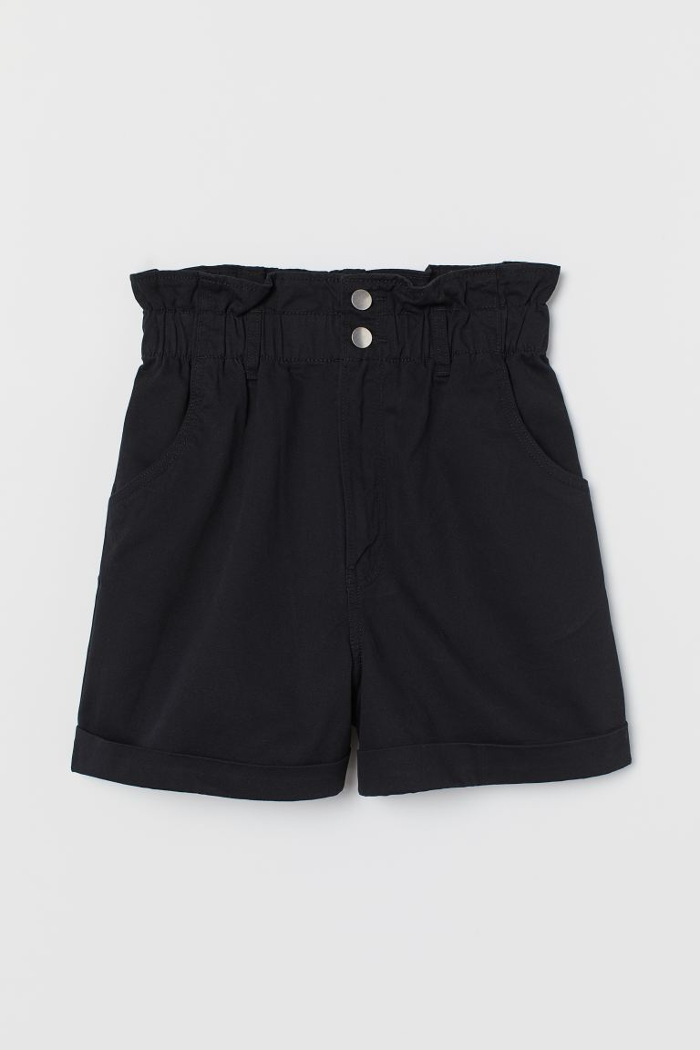 Cotton Paper Bag Shorts Black Ladies H M Us