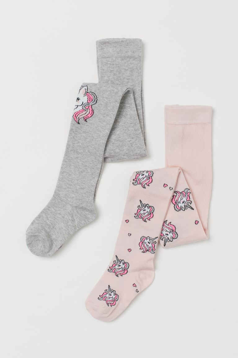 2-pack Fine-knit Tights - Light pink/unicorns - Kids | H&M US