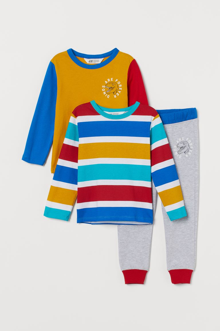 3-piece Jersey Set - Yellow/color-block - Kids | H&M CA