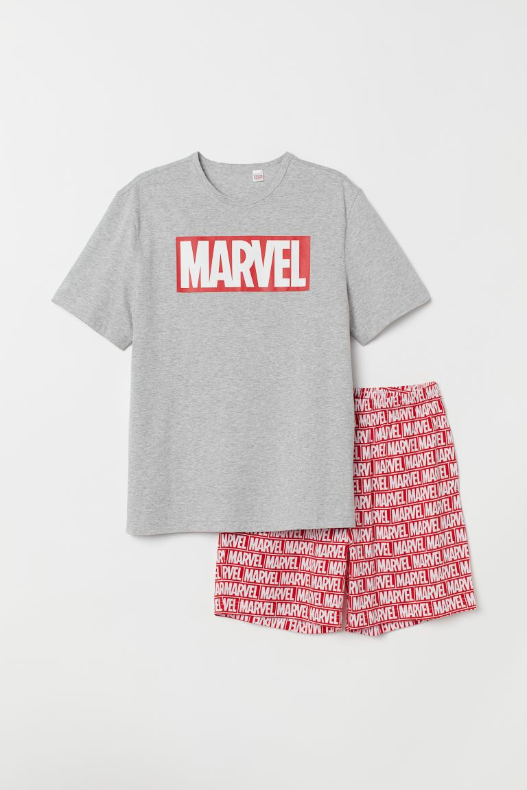 Pyjama T-shirt and shorts - Grey marl/Marvel - Men | H&M