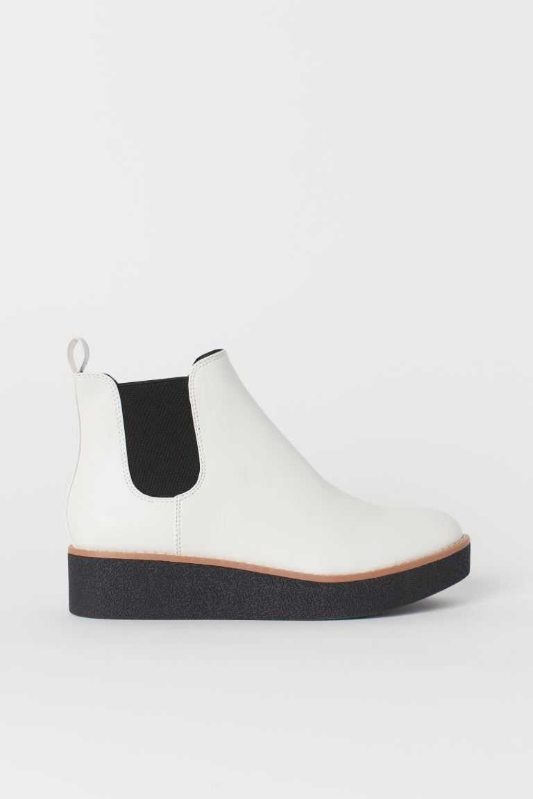 Faux Leather Ankle Boots - White - Ladies | H&M US