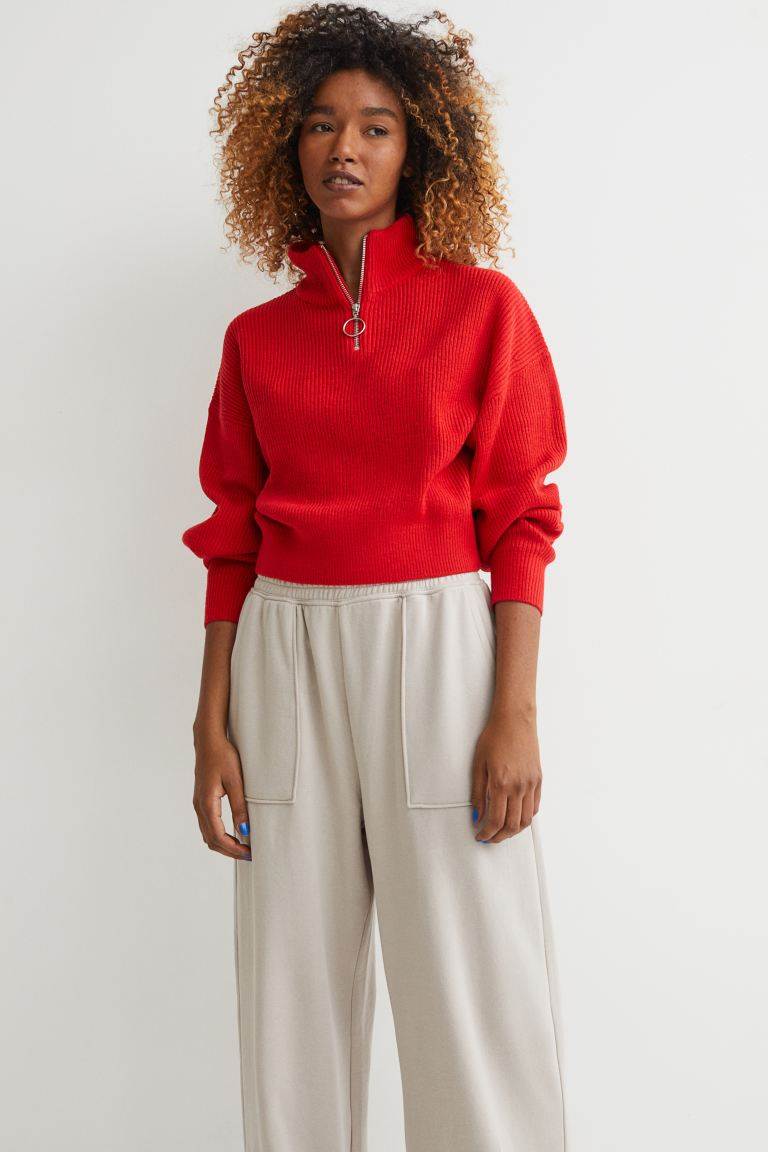 Ribbed stand-up collar jumper - Red - Ladies | H&M GB