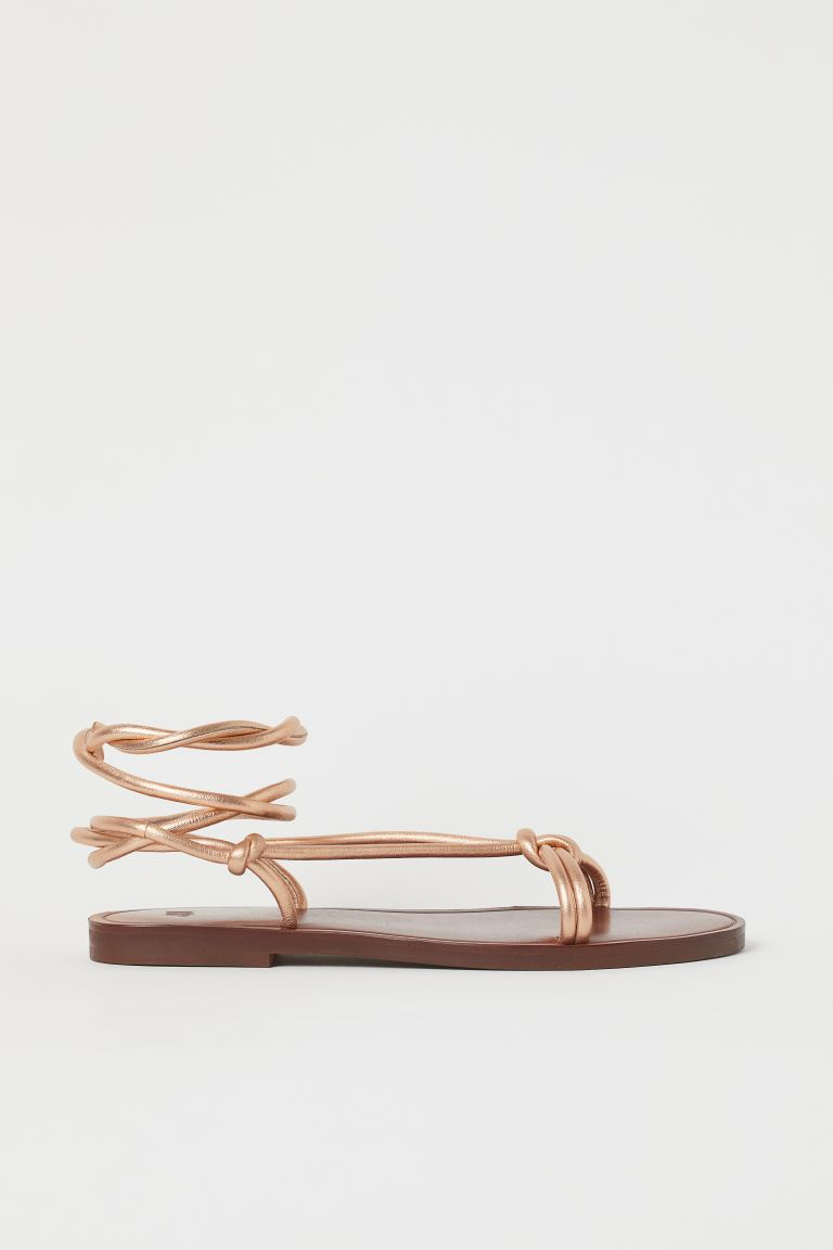 Leather sandals - Bronze-coloured - Ladies | H&M