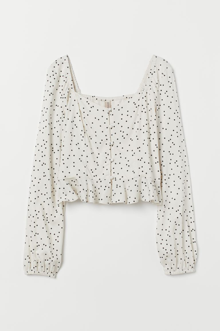 Patterned blouse - Natural white/Spotted - Ladies | H&M GB