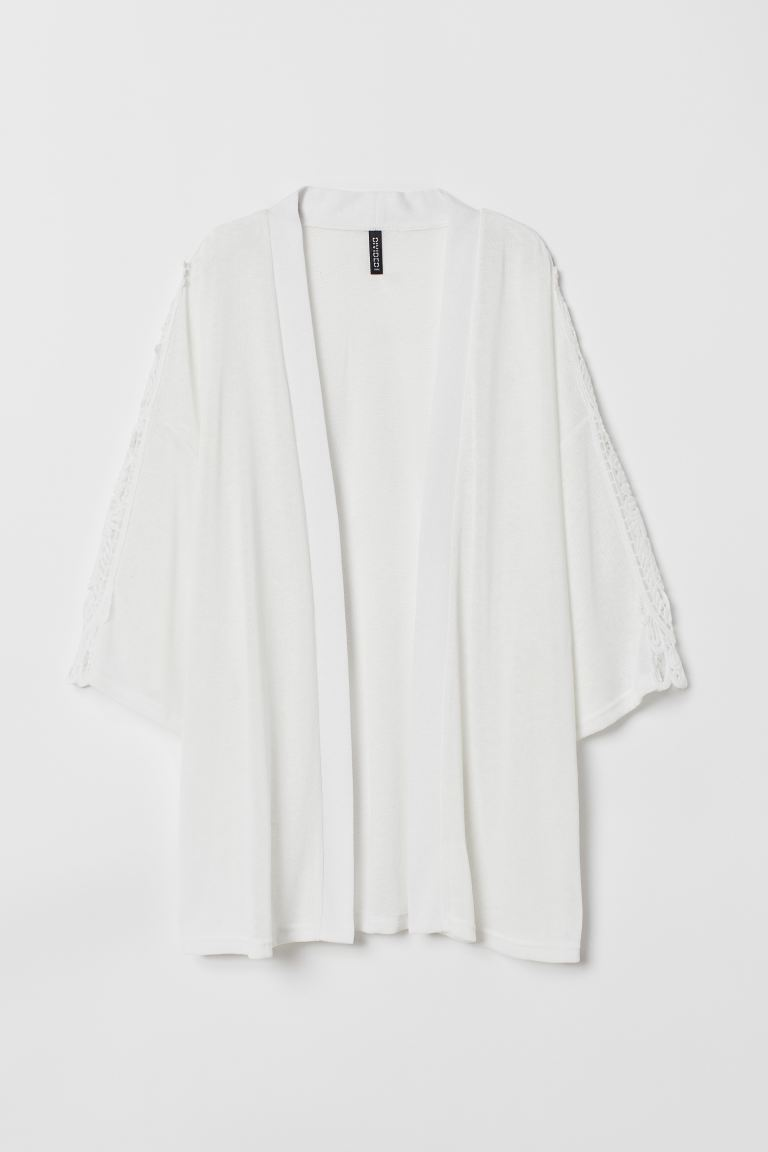 Crochet-trimmed cardigan - White - Ladies | H&M IN