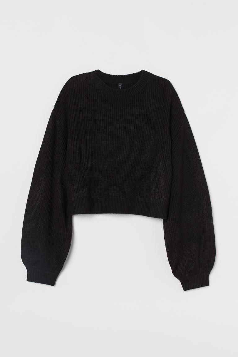 Balloon-sleeved Sweater - Black - Ladies | H&M US
