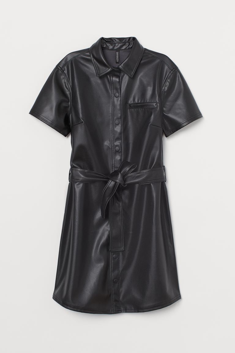 Imitation leather dress - Black - Ladies | H&M IN