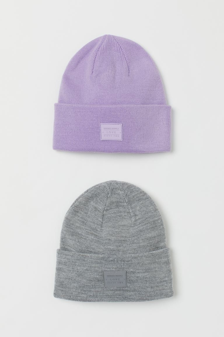 2-pack fine-knit hats - Light purple/Grey marl - Ladies | H&M IE