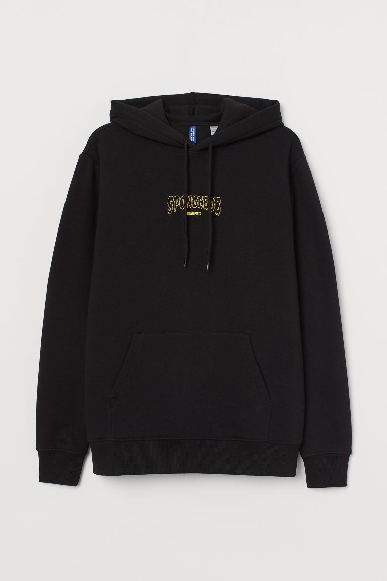 Regular Fit Hoodie - Black/Sponge Bob - Men | H&M CA