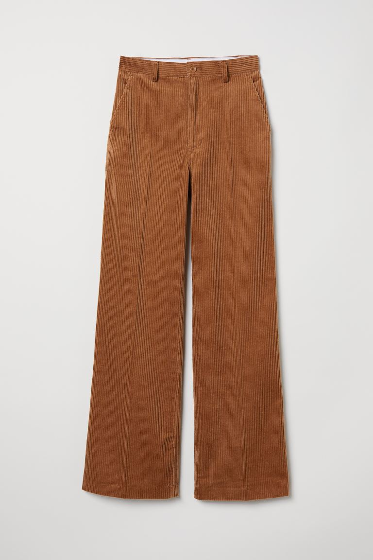 Wide-leg Corduroy Pants - Light brown - Ladies | H&M CA