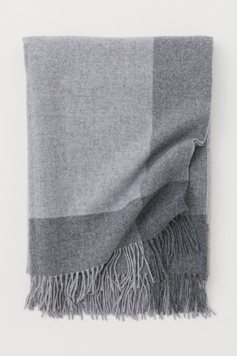 Plaid en laine - Gris/gris foncé - Home All | H&M FR