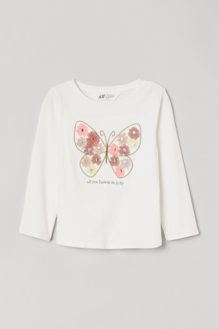 Design-front Jersey Top - Natural white/butterfly - Kids | H&M US
