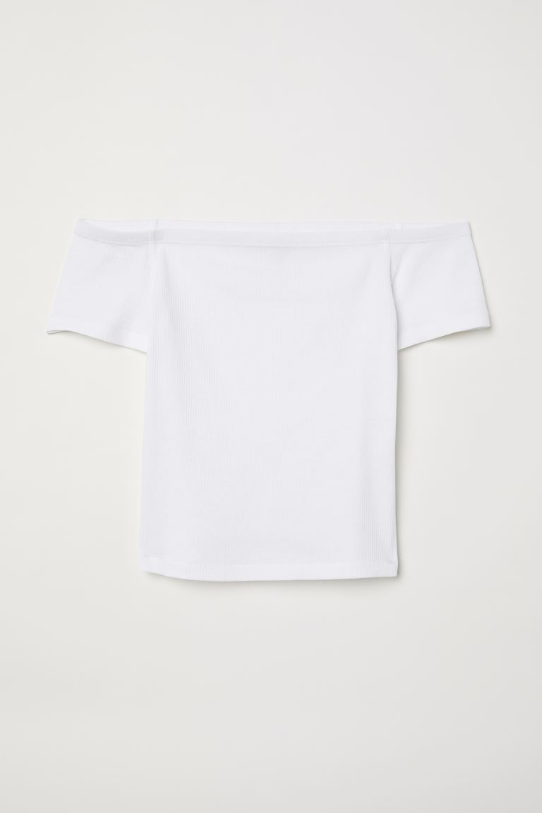 Ribbad off shoulder-topp - Vit - DAM | H&M SE