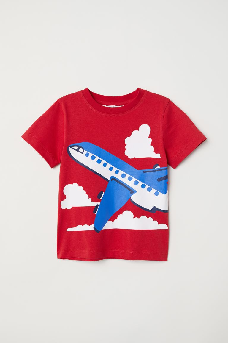 Printed T-shirt - Red/Aeroplane - Kids | H&M GB